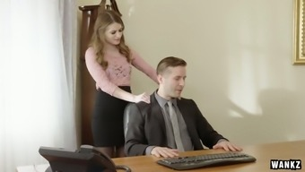 Sex-appeal counter Alice March is having dirty love-making with her twisted boss
