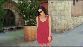 Lady in red colored dress Daniella Roze wijn is impaled on challenging dick in heated pov reduce
