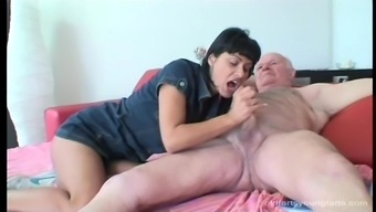 Receding grand father gets his penis ridden by an adventurous youngster