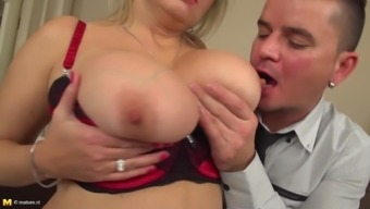 Grand senior mother along with big titties addicted by son