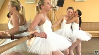 Cute black swan Valerie Dog and her girlfriends make love in the dancing studio