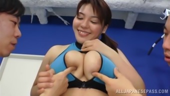 Striking Japanese Lady Goes Great With the use of A couple of Sportive All men