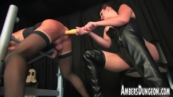 Girlfriend Lux anal dilling, strap-on and milking of mens pig