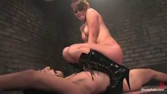 Penny Heat in Twisted BDSM Act in Femdom Vid along with Pegging Act