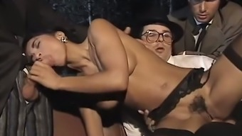 Sensational dark colored Italian babe getting gangbanged and jizzed