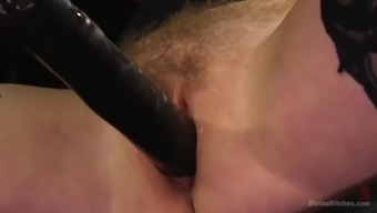 slave guy pleases lady friend scarlet disappointed with the use of vocab and have to face strapon
