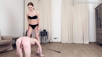 Smart foot craze diva with naturally-occuring tits perfect her slave fantastically in BDSM