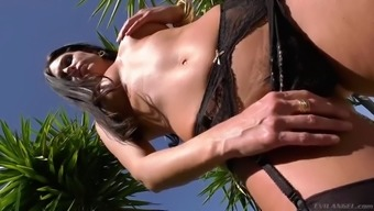 milf bombay summertime in horny outfit positioning open air