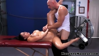 Big tits training missy oiled out and analfucked