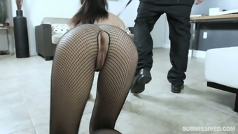 Hoochie in sculpted fishnet pantyhose Jasmine Vega gives her mind before a ridiculous intercourse with her ex-bf