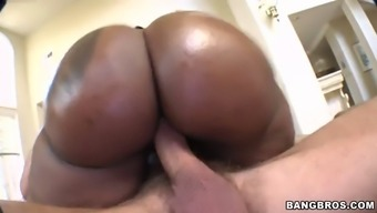 cherokee d butt plants her large and luscious stupid ass on his manhood and rides it