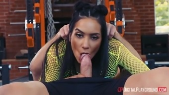 latina tia cyrus has fun in 69 present in the fitness center