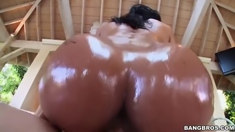 abby lee brazil gets oiled way up and after that fucked outside