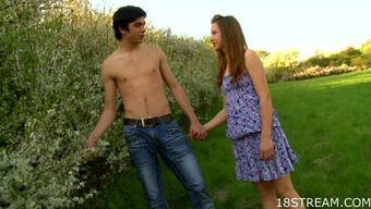 Erotic youngster lovemaking in the pasture