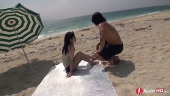 Japanese people infant Hina Maeda is having over the edge sexual intercourse at the coast
