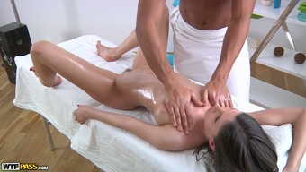 Light oiled over sweetie sucks BBC of the gorgeous massage therapy analyst