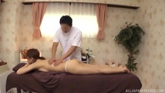 Japanese model having arousing human body gets an sexual massage