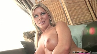 Packed bosomed blond mom is gonna showcase hard independently on mattress
