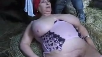 The french language Plus-size woman GRANNY OLGA FUCKED BY two(2) Males IN THE Agriculture