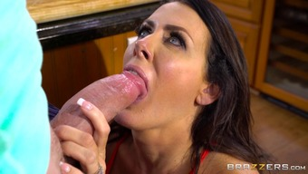 Fascinating Reagan Foxx gives the duded a cowgirl cycle with the food prep
