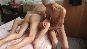 Oriental Grandpa Trio by using grow older woman