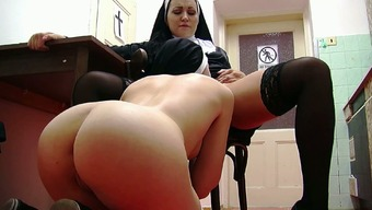 Delicious youthful nun pussy for a different gorgeous lesbian nun