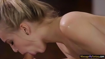 Petite blonde babe Alex Dull gives head off and nailed by masseur