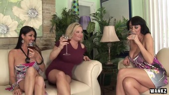 three(3) Heated Cougars on Slope Get their Twats Break up