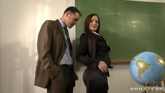 Sexy instructor Angelica Heart seduces her co-worker and fucks him