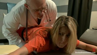 Imprisoned brown gets tied up and fucked through a doctor