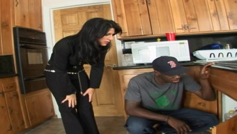 Homemaker tramp normally takes major dick beginning with the black handyman