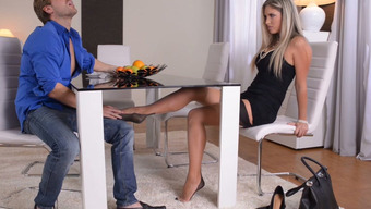 Great brown in stockings share footjob to at least one handed in bf