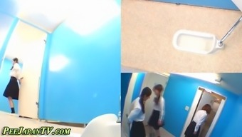 Bath room camcorders video lovely Japanese people babes pissing in bauls