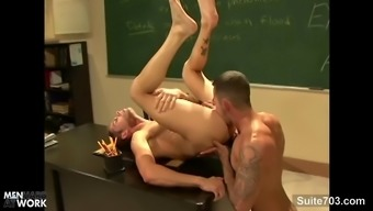 Cheerful instructor impales his ass on his student's cock