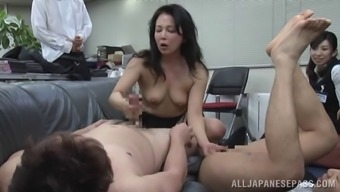 Foul Oriental MILF loves entertaining pussies along with cocks