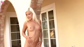 Brilliant brown cowgirl with very long hair color masturbates cultivate peak outdoors