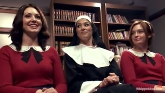 Beautiful nun influences two different attractive nice girls in class uniform