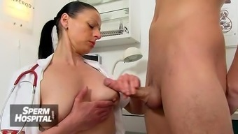 Busty cougar medical professional Greta young and old cfnm