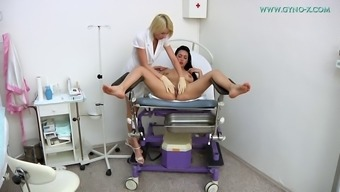 Captivating toddler and her lesbian health professional get kinky in office