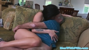 Realistic grand father rimmed cocksucked by accompany young adult
