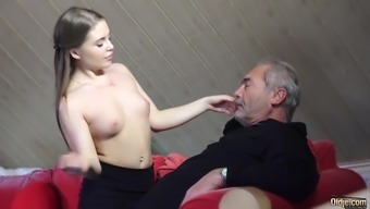 Old Younger Pornography Fucked Plain Grand father in pussy
