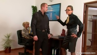Female in blouses make use of a males substitute