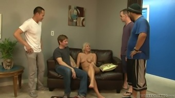 Blond nymphomaniac Layla Costs is going on part in ridiculous gangbang market