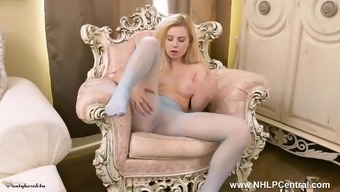 Gorgeous short blonde pieces and wanks in attractive nylon material pantyhose