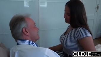 Old Youthful Major Tits Teenager Gives Titjob and gets face cumshot