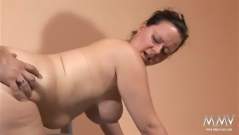Round beyond compare haired housewife with the use of major tits blows small dick of their adult man at night