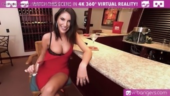 VR PORN-AUGUST AMES GIVE A Top notch BLOWJOB Along at the Tavern