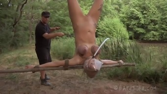 Crucified slaved damsel in servitude pussy showcased outdoor adventure