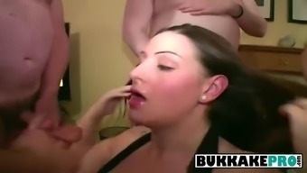 Flawed brunette wishes to digest barrels of cum during a heated bukkake social gathering