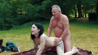 Romantic Party acts as attractive fuck for grandpa and her youngster lady